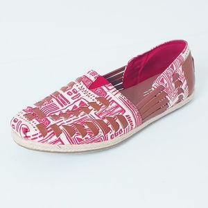 Toms Red/White Leather Detail Boho Style Flats